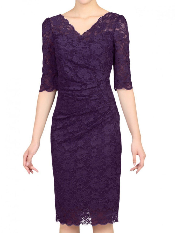 3/4 Sleeve Scalloped Lace Dress