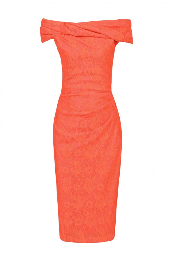 Jolie Moi Lace Bonded Bardot Neck Dress, Coral