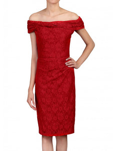 Jolie Moi Lace Bonded Bardot Neck Dress, Red