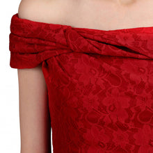 Load image into Gallery viewer, Jolie Moi Lace Bonded Bardot Neck Dress, Red