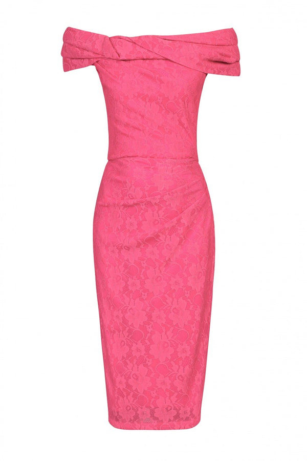 Jolie Moi Lace Bonded Bardot Neck Dress, Pink