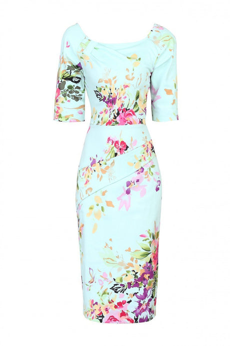 Half Sleeve Floral Print Dress