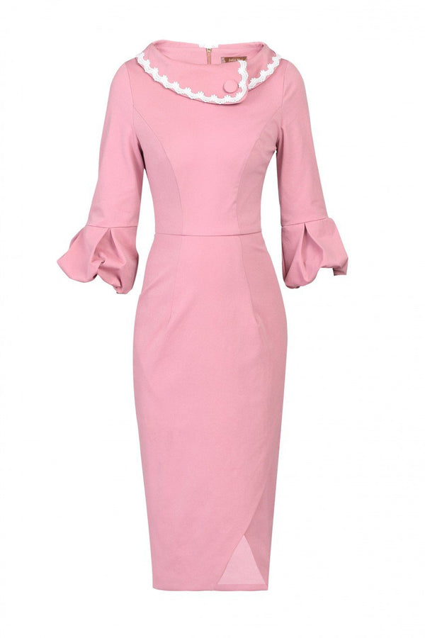 Jolie Moi Trim Detail Rolled Collar 60`s Dress DUSTY PINK