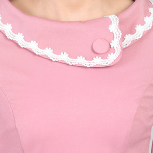 Jolie Moi Trim Detail Rolled Collar 60`s Dress, Dusty Pink
