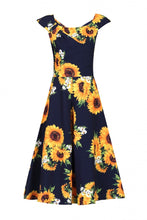 Load image into Gallery viewer, Retro Floral Print Swing Dress, Navy Floral