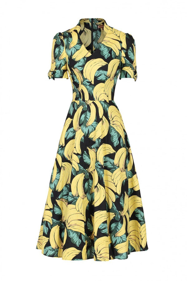 Banana Print Short Sleeved Tea Dress, Black Pattern