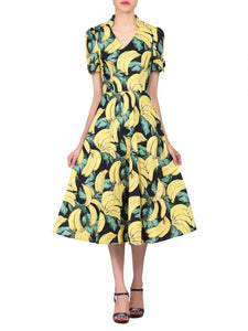 Jolie Moi Banana Print Short Sleeved Tea Dress, Black Pattern