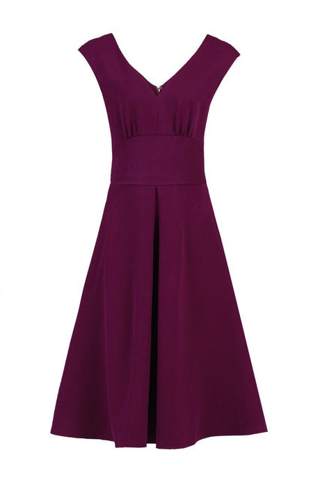 Jolie Moi Sweetheart Neck Flared Dress, Berry