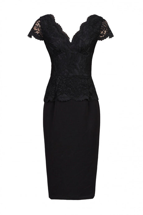 Jolie Moi Cap Sleeved Lace Peplum Dress, Black