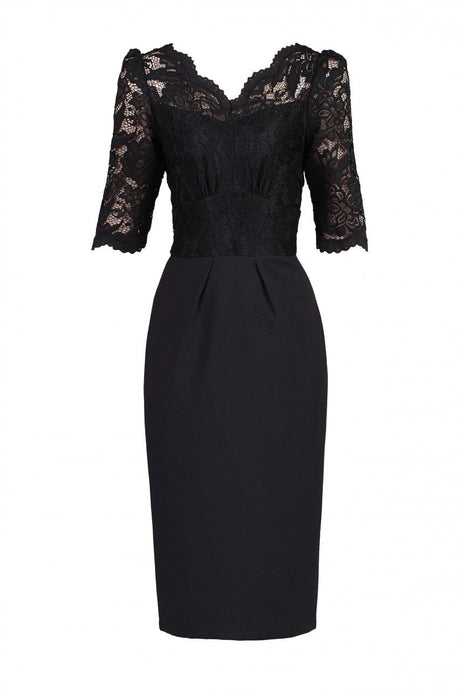 Jolie Moi Elbow Sleeved Lace Dress, BLACK