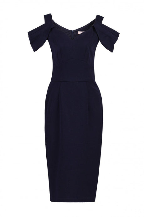 Jolie Moi - Navy fold shoulder shift dress, NAVY