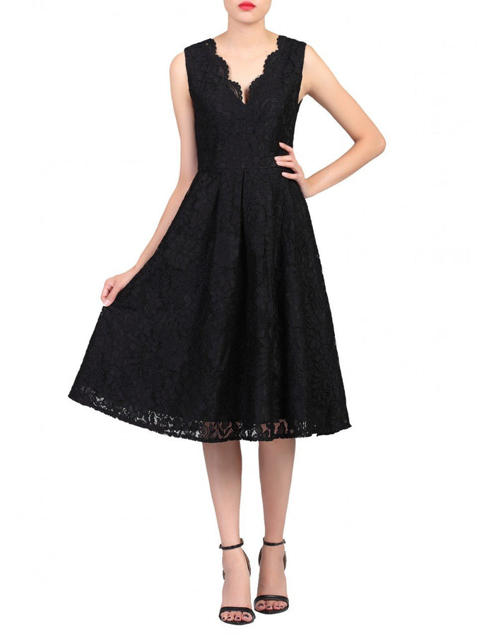 Jolie Moi Scalloped Lace Prom Bridesmaid Dress, Black-Jolie Moi