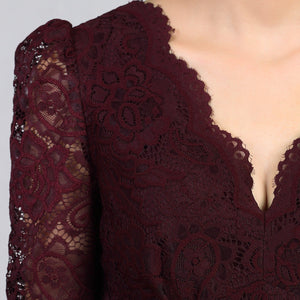 Jolie Moi 3/4 Sleeved Lace Prom Bridesmaid Dress, Burgundy-Jolie Moi