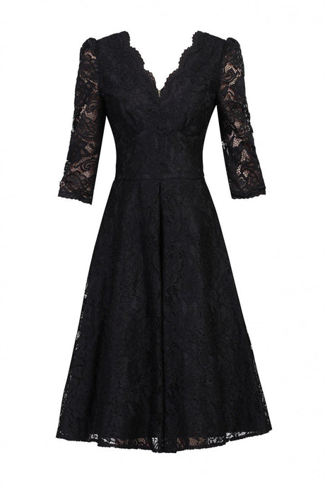 Jolie Moi 3/4 Sleeved Lace Prom Bridesmaid Dress, Black-Jolie Moi