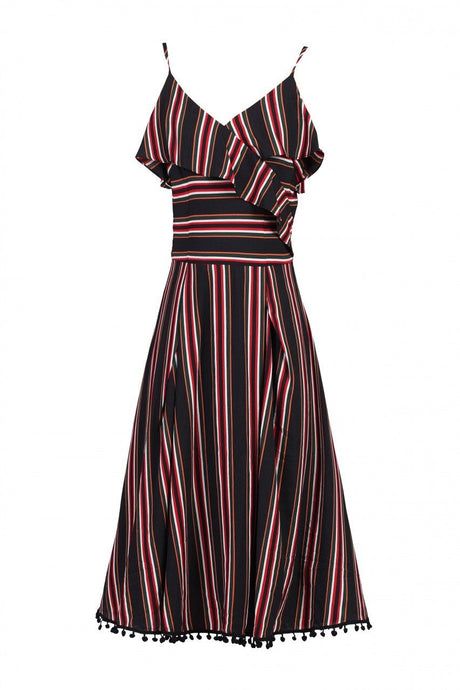 Jolie Moi Spaghetti Strap Frilly Dress, Black Stripes