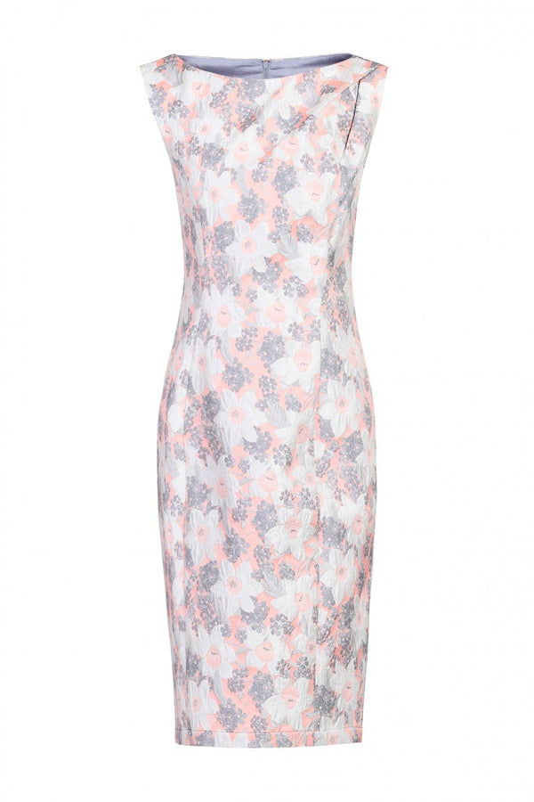 Jolie Moi Jacquard Shift Dress, Grey Floral