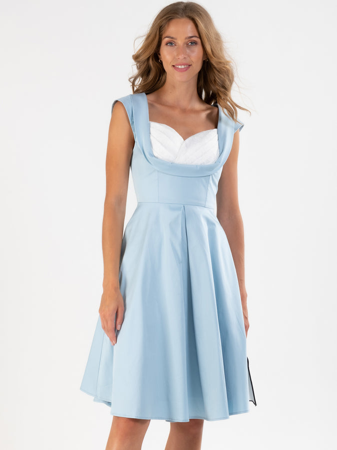 Crossover Bust Ruched 50's Dress, Blue