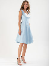 Load image into Gallery viewer, Crossover Bust Ruched 50's Dress, Blue