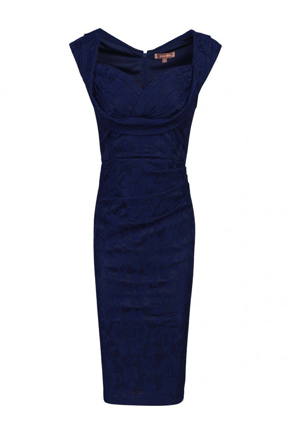 Jolie Moi Crossover Bust Ruched Shift Bridesmaid Dress, Navy-Jolie Moi