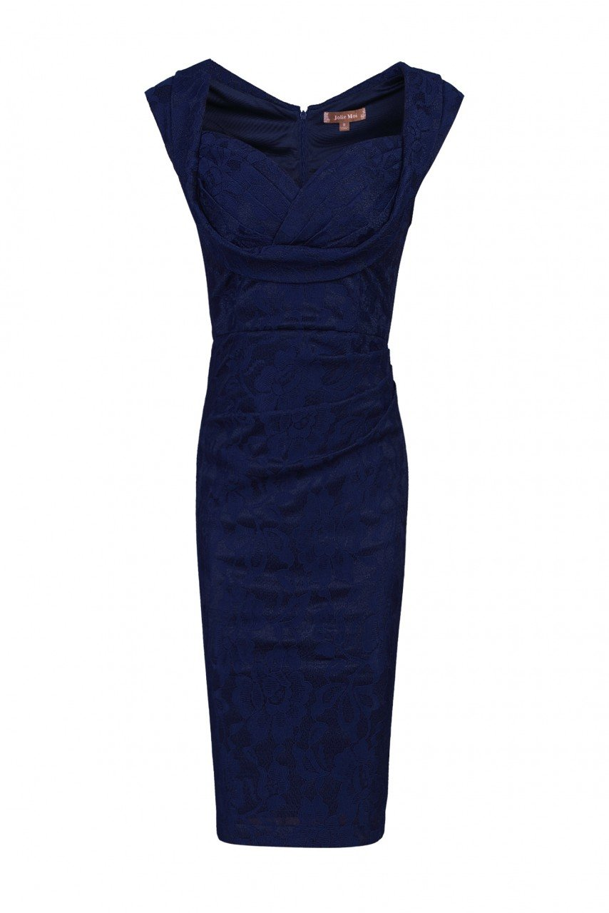 Jolie Moi Crossover Bust Ruched Shift Bridesmaid Dress, Navy