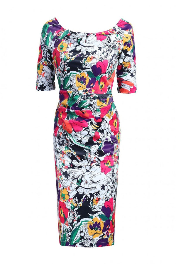 Jolie Moi Half Sleeve Ruched Wiggle Dress, Black Floral