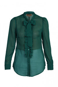 Jolie Moi Tie Neck Check Frilly Shirt, Green black check