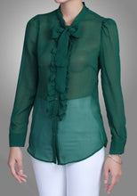 Load image into Gallery viewer, Jolie Moi Tie Neck Check Frilly Shirt, Green black check