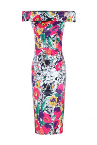 Floral Bardot Neckline Dress