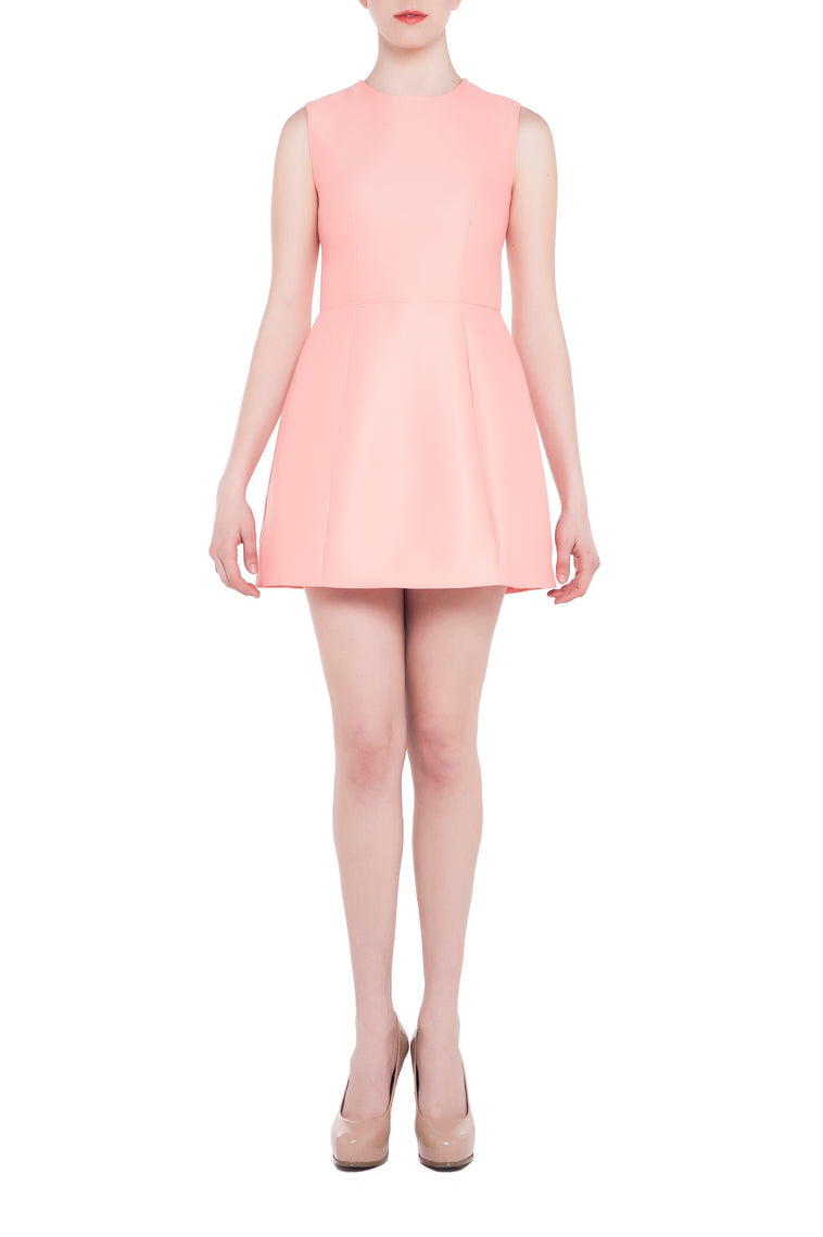 Structured Mini Bell Dress, Coral Pink