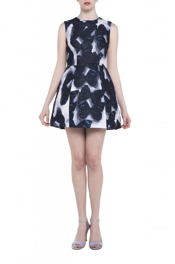 Jolie Moi Butterfly Print Bell Structured Dress, black butterfly