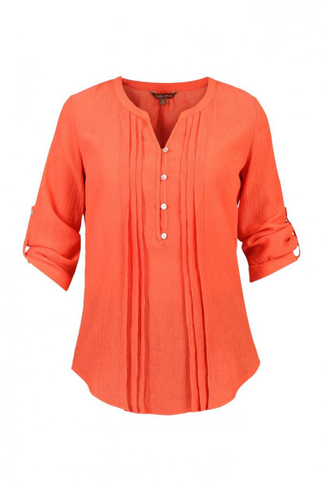 Jolie Moi Textured Chiffon Shirt, Orange