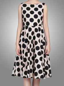 Jolie Moi Polka Dot Print 50s Dress, Black Polka