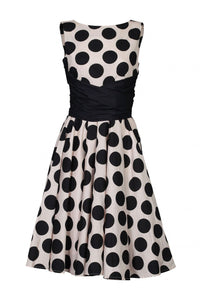 Jolie Moi Wrapped Waist Polka Dot Dress, Black polka
