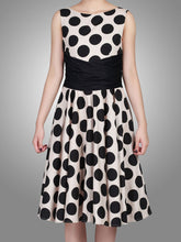 Load image into Gallery viewer, Jolie Moi Wrapped Waist Polka Dot Dress, Black polka