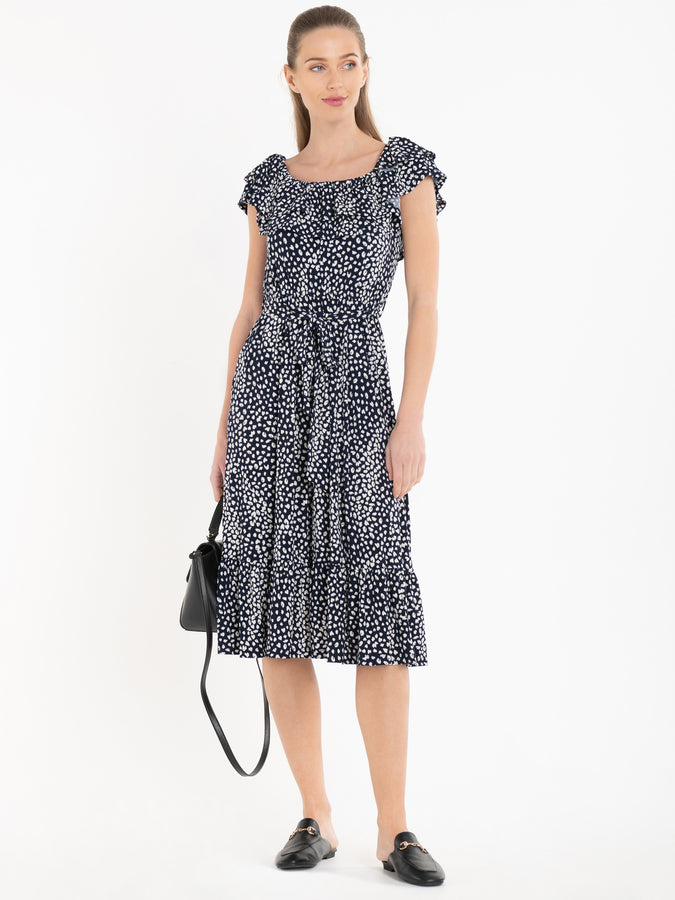 Jolie Moi Abstract Spot Ruffle Midi Dress, Navy Animal