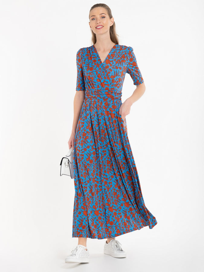 Jolie Moi Acadia Floral Print Wrap Maxi Dress, Blue/Multi