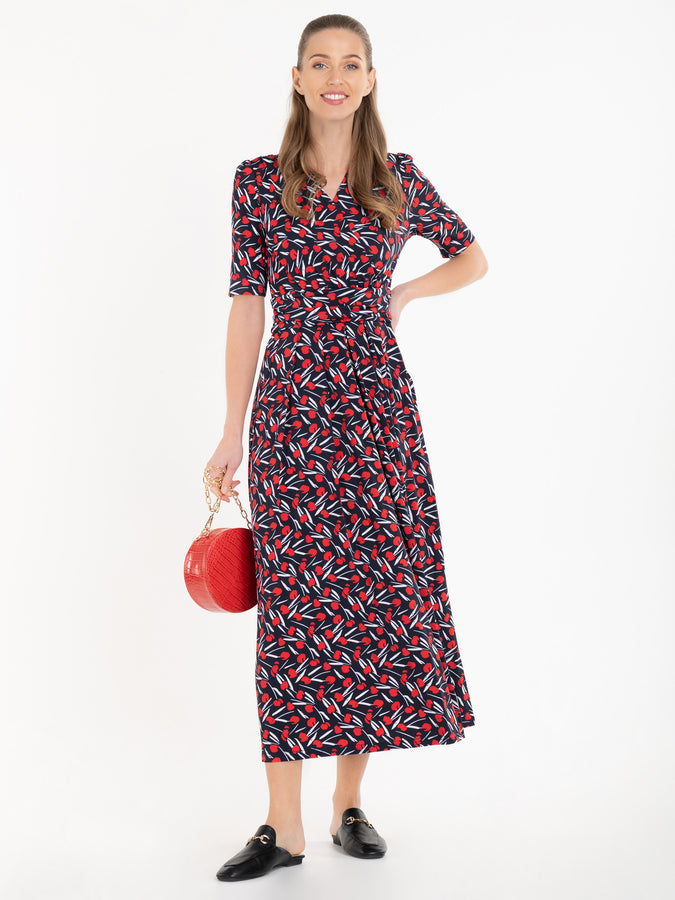 Jolie Moi Amaka Floral Midi Dress, Navy/Multi