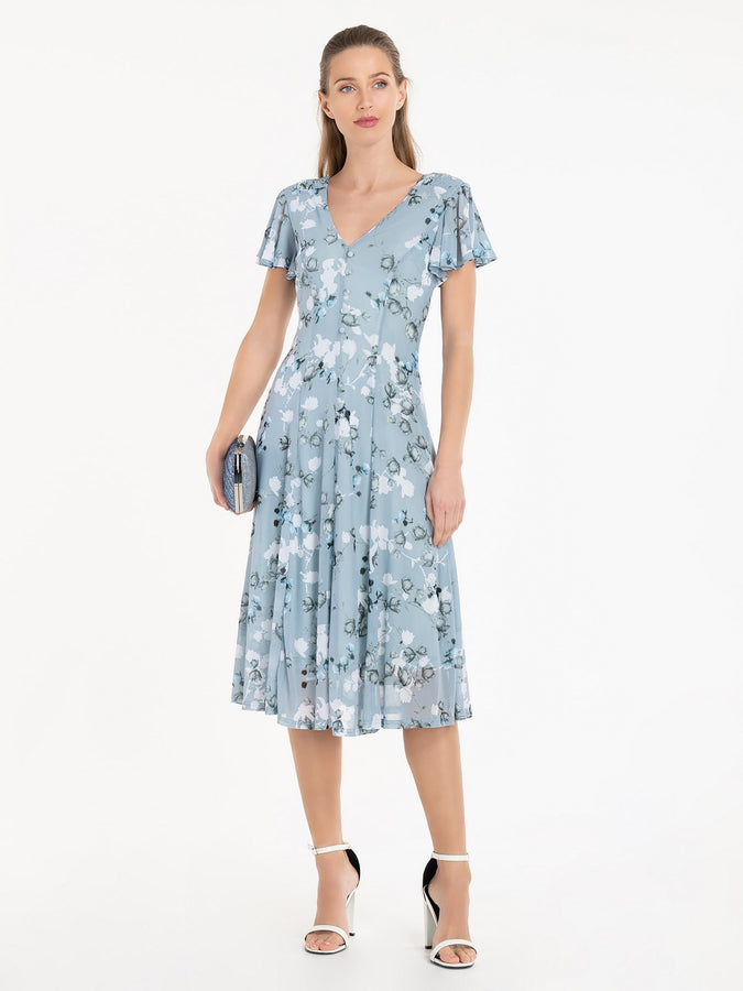 Jolie Moi Amia Floral Print Midi Dress, Blue/White