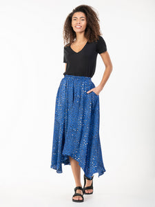 Jolie Moi Animal Print Hanky Hem Midi Skirt, Blue