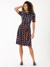 Load image into Gallery viewer, Jolie Moi Belilah Spot Print Foldover Neck Jersey Dress, Navy Spot