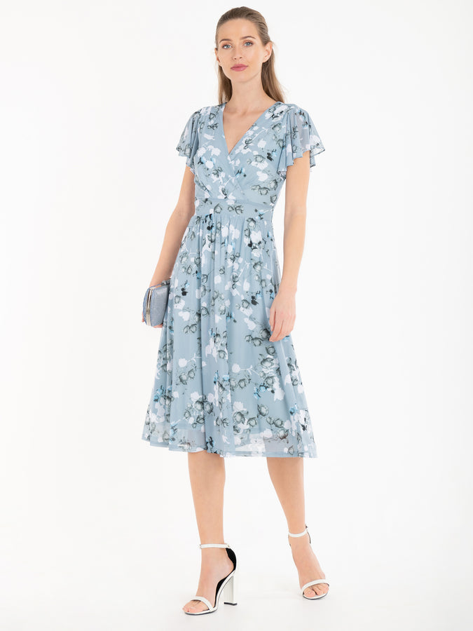 Jolie Moi Chailee Midi Dress, Blue Floral
