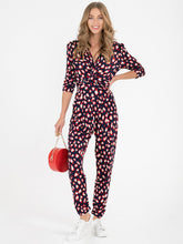 Load image into Gallery viewer, Jolie Moi Cheryl Animal Print Jumpsuit, Navy Animal