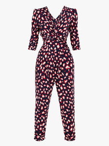 Jolie Moi Cheryl Animal Print Jumpsuit, Navy Animal