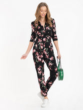 Load image into Gallery viewer, Jolie Moi Cheryl Floral Print Jersey Jumpsuit, Black Floral
