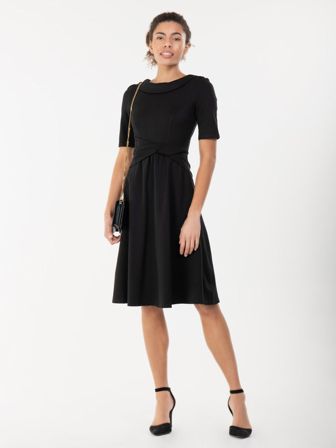 Jolie Moi Fold Over Fit and Flare Midi Dress, Black