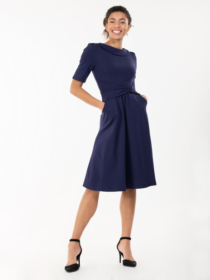 Jolie Moi Fold Over Fit and Flare Midi Dress, Navy