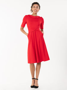 Jolie Moi Fold Over Fit and Flare Midi Dress, Red