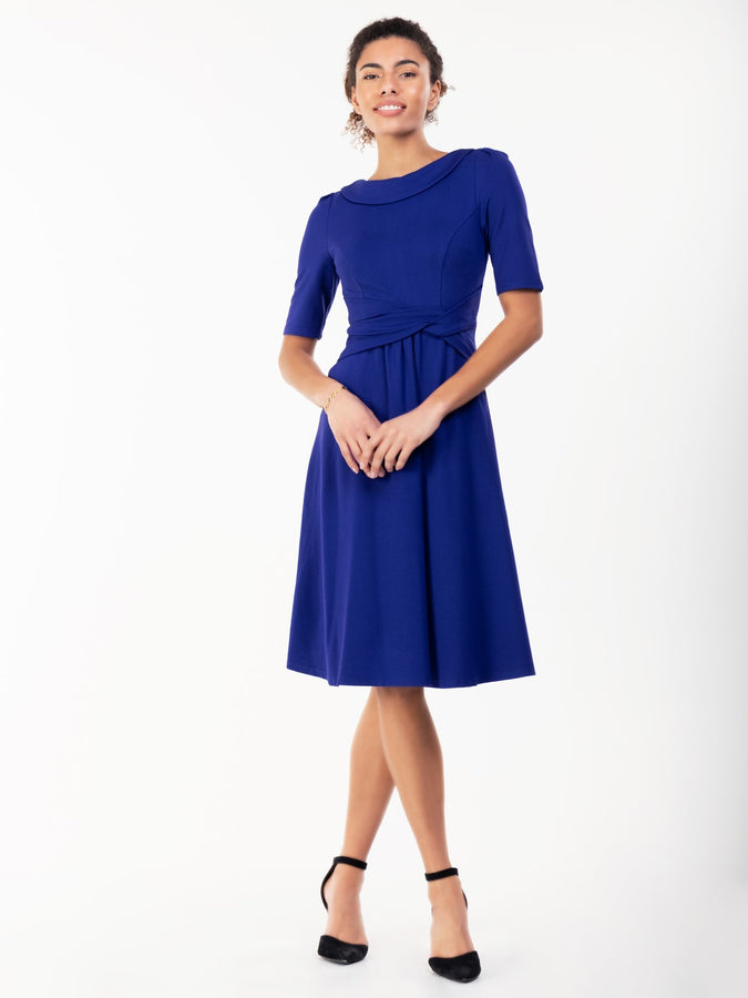 Jolie Moi Fold Over Fit and Flare Midi Dress, Royal Blue