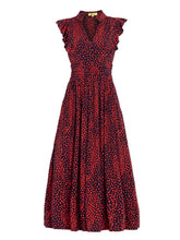 Load image into Gallery viewer, Jolie Moi Frill Detail Maxi Dress, Red/Animal