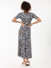 Load image into Gallery viewer, Jolie Moi Jenny Animal Print Maxi Dress, Blue Animal